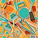 Hairdressing tools seamless pattern in retro style Stock Image