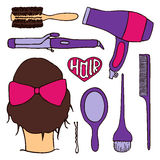 Hairdressing tools set. Hand-drawn cartoon collection of hair styling stuff -  comb, hairbrush, hairpin, mirror, dryer Stock Photography