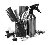 Hairdressing tools on whit stock photography