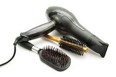Hairdryer with Different Hairbrush Stock Image
