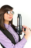 Hairdryer gun holding by a woman Stock Image