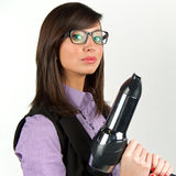 Hairdryer gun holding by a woman Stock Photography
