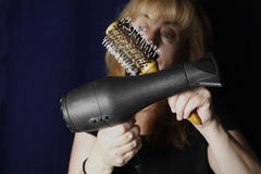 Hairdryer And Hairbrush Stock Image