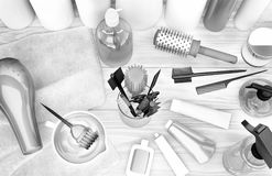 Hairdryer, Kämme, Haarfärbemittel und Berufskosmetik für Haar L Lizenzfreies Stockfoto