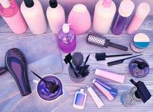 Hairdryer, peines, tinte de pelo y cosméticos profesionales para el pelo l Fotos de archivo libres de regalías