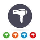 Hairdryer sign icon. Hair drying symbol. Royalty Free Stock Images