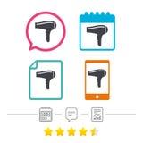 Hairdryer-Zeichenikone Trocknendes Symbol des Haares Stockbilder