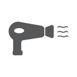 Hairdryer-Zeichenikone Trocknendes Symbol des Haares Stockbild