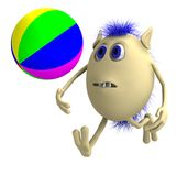 Haired 3D puppet playing with colorful ball Royalty Free Stock Photo