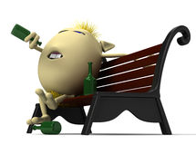 Haired drunkard puppet drinking on park bench Royalty Free Stock Images