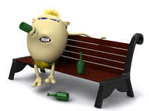 Haired Drunkard Puppet Sitting On Park Bench Stock Image