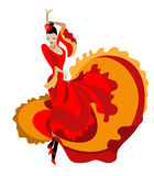 Haired flamenco dancer. In a bright dress Royalty Free Stock Photo