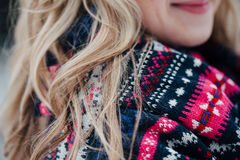 Haired girl winter forest in scarf. Haired girl winter forest in a scarf Royalty Free Stock Photography