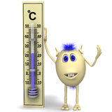 Haired happy puppet standing near big thermometer Royalty Free Stock Photography