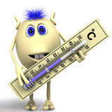 Haired puppet holding big plastic thermometer Royalty Free Stock Photos