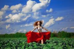 haired röd solroskvinna Arkivfoton