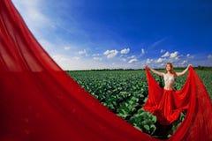 haired röd solroskvinna Royaltyfri Fotografi