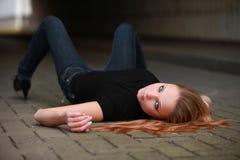 haired röd sexig tonåring Royaltyfri Bild