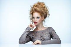 haired red för skönhet Royaltyfri Bild