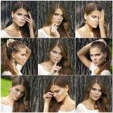 Haired unga kvinnor för collage Arkivbilder