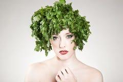 Haired vrouw van de peterselie royalty-vrije stock fotografie