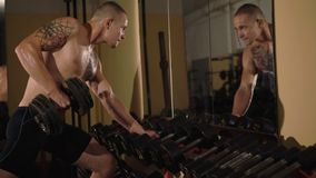 Hairless with tattoos free fighter lifts the dumbbells at mirror. 4K.  stock video footage