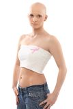 Hairless woman with Breast Cancer Awereness ribbon Royalty Free Stock Photography