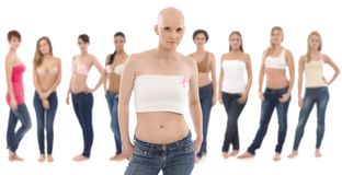 Hairless woman with Breast Cancer Awereness ribbon Royalty Free Stock Image