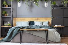 Hairpin bench standing by the king-size bed with many cushions a. Nd green blanket in grey bedroom interior with lamps and fresh plants royalty free stock photography