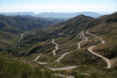 Hairpin bends in the Andes Stock Images