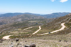 Hairpin bends in the historic Swartberg (Black Mountain) Pass. Stock Photo