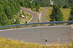 Hairpin bends in the Italian Alps at Passo Sella Royalty Free Stock Image
