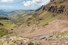The hairpin bends in the Sani Pass Stock Photos