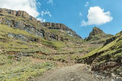 The hairpin bends in the Sani Pass Royalty Free Stock Photo