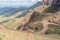 Hairpin bends in the Sani Pass stock image