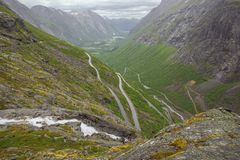The hairpin bends of Trollstigen stock photo