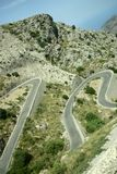 Hairpin curve. Winding road through majorca mountain stock image