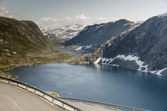 Hairpin curve dalsnibba road 63 panoramaroad norway. The dalsnibba or road 63 touristic road to the high view of the geirangerfjord in norway royalty free stock photos