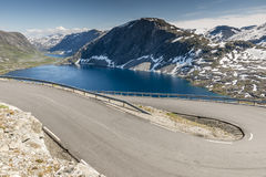 Hairpin curve dalsnibba road 63 panoramaroad norway. The dalsnibba or road 63 touristic road to the high view of the geirangerfjord in norway royalty free stock photo