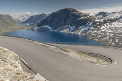 Hairpin curve dalsnibba road 63 panoramaroad norway. The dalsnibba or road 63 touristic road to the high view of the geirangerfjord in norway stock images