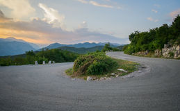 Hairpin curve. From ground perspective stock image