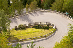 Hairpin curve. On mountain road in Tirol, Austria stock photography