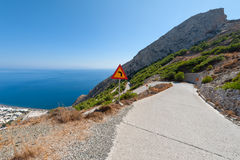 Hairpin curved road in Santorini Greece Royalty Free Stock Image