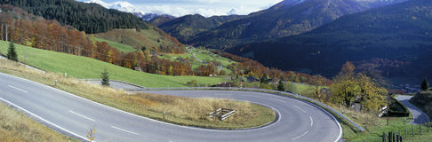 Hairpin curves on country road, Bavaria, Germany stock image