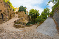 Hairpin Turn Cobblestone Street Gordes Royalty Free Stock Photos