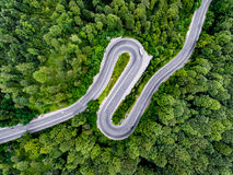 Hairpin turn winding road trough the forest. Aerial shot. Viewed from above stock photo