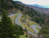 Hairpin Turns on a mountain range Stock Images