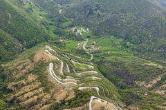 Hairpin turns on road to Selvino, Orobie Stock Photo