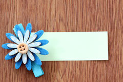 Hairpins of blue flower pattern and note paper. Stock Images