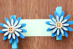 Hairpins of blue flower pattern and note paper. Stock Photo